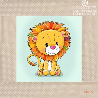 Baby Blanket with edge in cream Fleece and Lion Cotton - Handmade