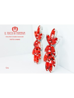Eris red swarovski crystal earrings Handmade