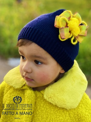 Masha Blue Yellow Pure Wool Baby Hat - Handmade