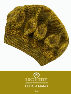 Belen mustard woman hat in wool and mohair - Handmade