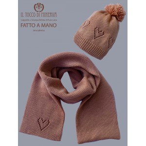 Jerusalema antique pink pure wool girl's scarf and hat - Handmade