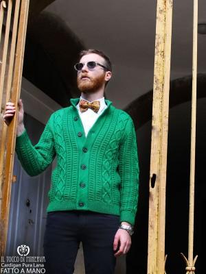 Arnold Pure Wool Green Men's Cardigan - Handmade
