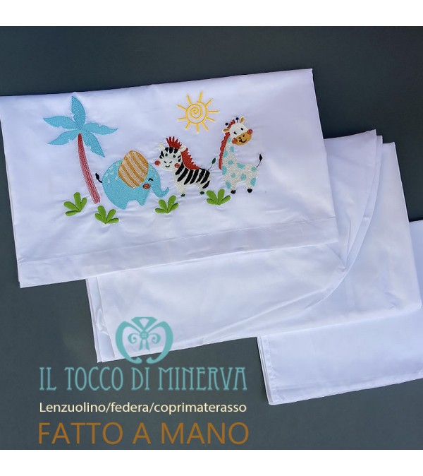 Fitted sheet with pillowcase and mattress cover with jungle animals embroidery - Handmade