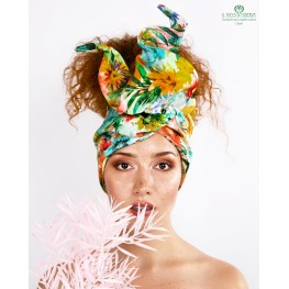 Hair Turban Flowered Cotton Charli Handmade
