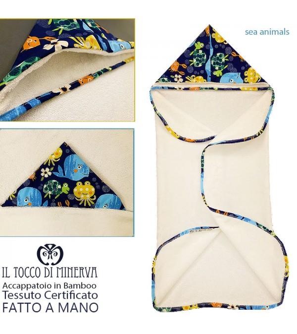 White Bamboo Baby Bathrobe Sea Animals - Handmade
