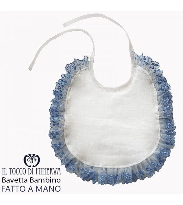Baby bib in linen with light blue lace - Handmade