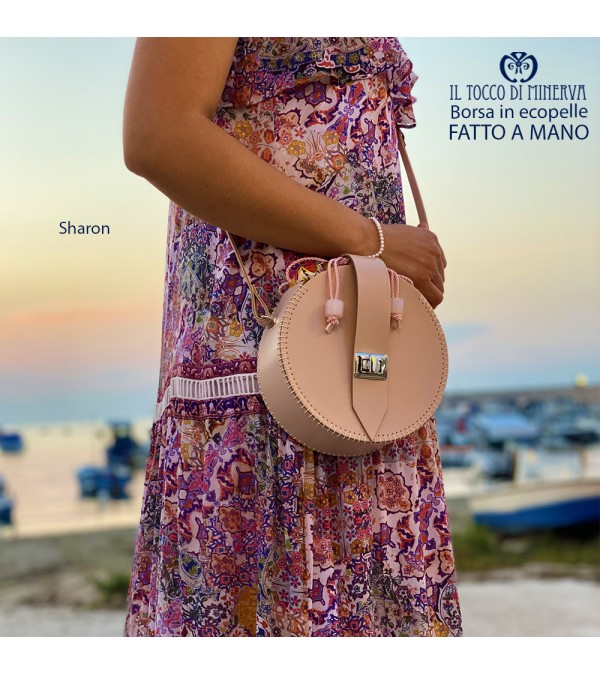Round faux leather bag with Sharon face powder shoulder strap - Handmade