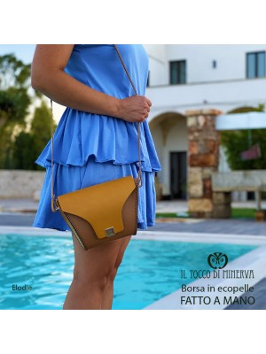 Eco-leather bag with leather-colored shoulder strap Elodie - Handmade