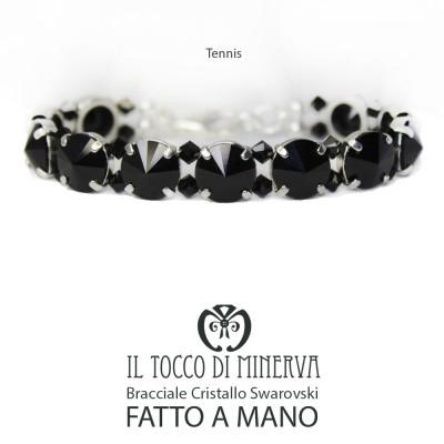 Tennis Bracelet Swarovski Black ten mm Handmade