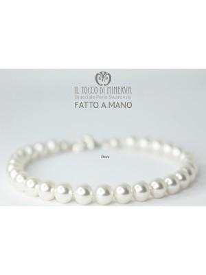 Swarovski Pearl White Silk Silk Bracelet Line Bridal - Handmade