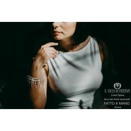 Ariana Swarovski White Pearl Silk Bracelet Bride Line - Handmade