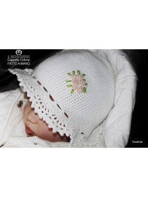 Rosalinda White Cotton Girl Hat Handmade