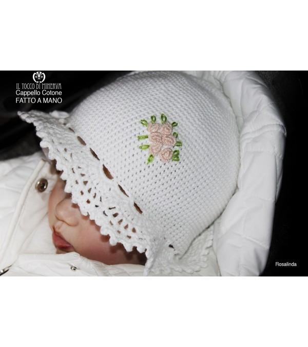 Rosalinda White Cotton Girl Hat Handmade