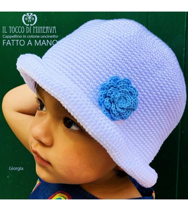 Giorgia white cotton girl hat handmade