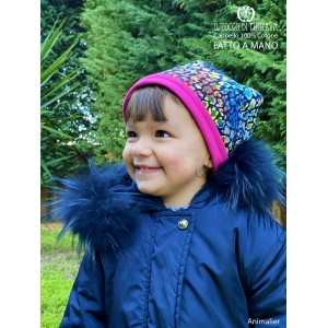 Girl's reversible hat 100% Animalier cotton - Handmade
