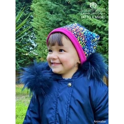 Girl's reversible hat 100% Animalier cotton - Handmade