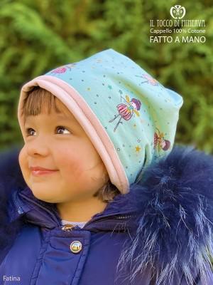 Reversible hat baby girl 100% cotton fairy - Handmade