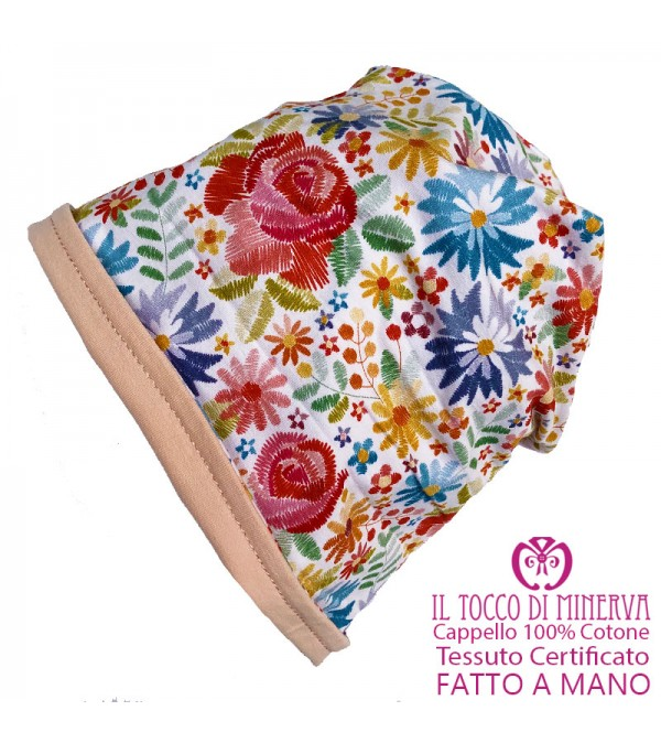 Girl's reversible hat 100% cotton Flowers - Handmade