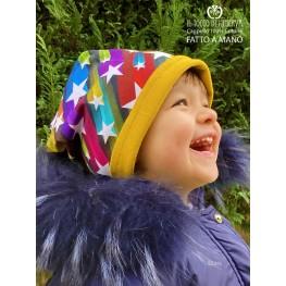 Reversible hat girl 100% cotton stars - Handmade