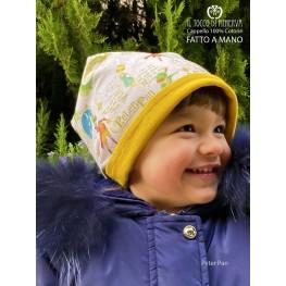 Unisex reversible hat 100% cotton Peter Pan beige - Handmade