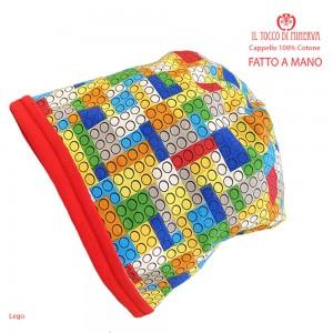 Baby reversible hat 100% cotton lego - Handmade