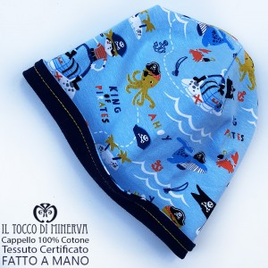 Baby reversible hat 100% cotton sky blue pirates - Handmade