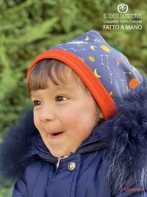 Reversible baby hat 100% universe cotton - Handmade