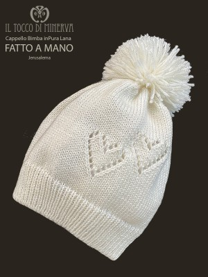 Hat baby or boy in pure white wool Jerusalema - Handmade