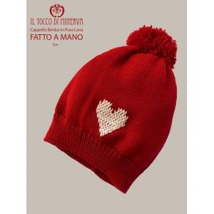 Baby hat in pure wool red white zoe - Handmade