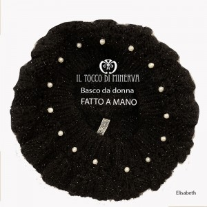 Elisabeth black wool beret - Handmade