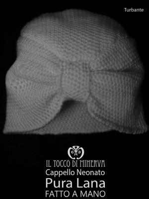 White pure wool baby hat Turban - Handmade