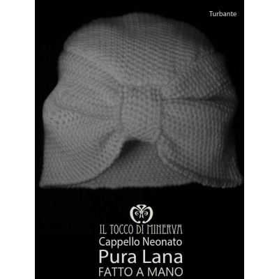 White pure wool baby hat Turban - Handmade