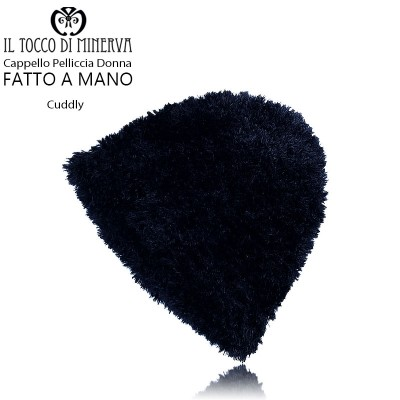 Cuddly black woman fur hat - Handmade