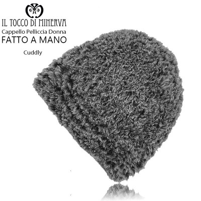 Cuddly dove gray fur hat - Handmade