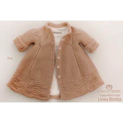 Coat Baby Girl Wool Zoe old pink Handmade