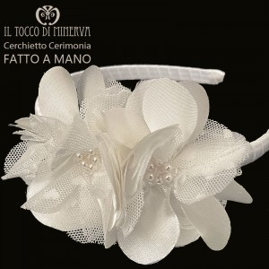 White Silk Ceremony Headband with swarovski crystals - Handmade