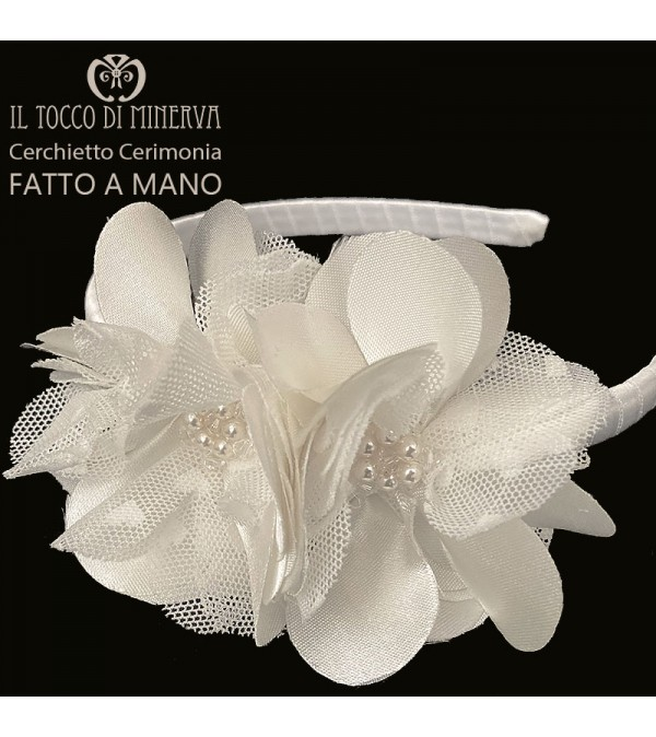White Silk Ceremony Headband with swarovski crystals - Handmade