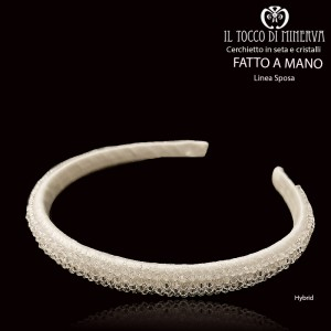 Hybrid line bridal silk and crystal headband - Handmade