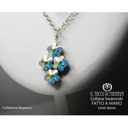 Swarovski crystal necklace Beyoncè Bride Line 4 flowers - handmade - HandMade