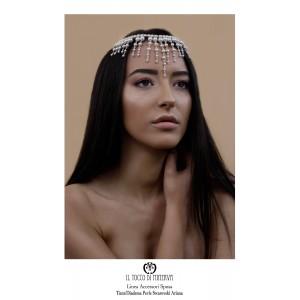 Tiara Necklace Ariana Tiara swarovski pearls Handmade Wedding Line