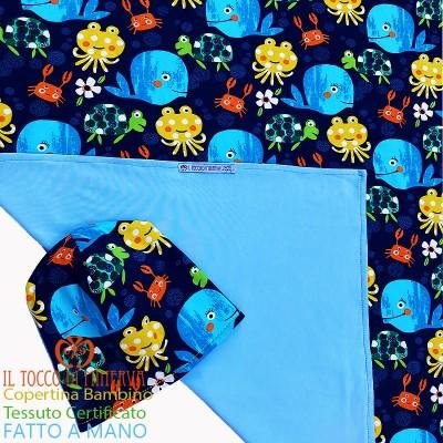 Baby Blanket in Certified Cotton Sea Animals - Handmade
