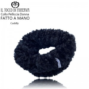 Cuddly black woman fur collar - Handmade