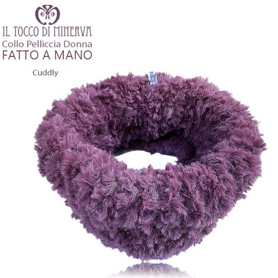 Cuddly old pink woman fur collar - Handmade