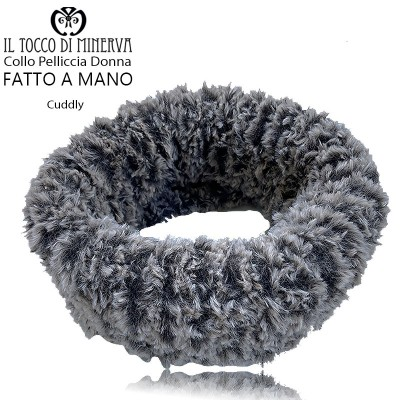 Cuddly turtledove woman fur collar - Handmade
