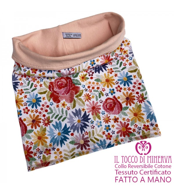 Floral Certified Reversible Cotton Girl's Neck - Handmade