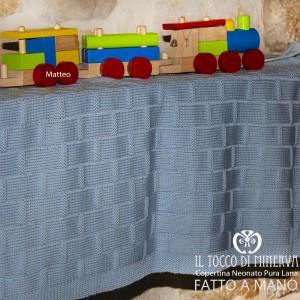 Baby Blanket Matteo celeste pure wool Handmade