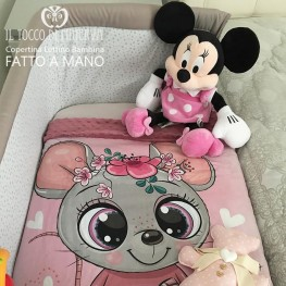 Baby Blanket in Antique Pink Fleece and Mickey Mouse Cotton - Handmade