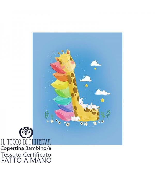 Baby Blanket with Giraffe White Cotton Border - Handmade