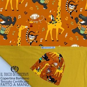 Baby Blanket in Mustard Jazz Animals Certified Cotton - Handmade