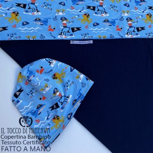 Baby Blanket in Pirate Certified Cotton with light blue background - Handmade